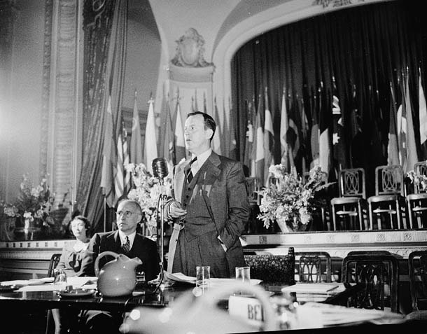Lester Bowles Pearson presiding at a plenary session of the founding conference of the United Nations Food and Agriculture Organization