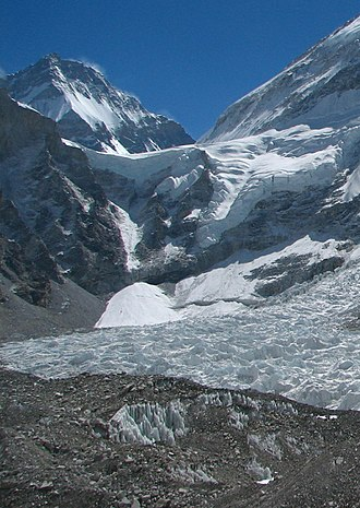 Lho La - Lho La behind where the Khumbu Icefall turns to become the Khumbu glacier. Behind are Changtse and Everest's West Ridge