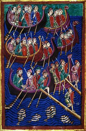 Ubba - Danish Vikings depicted in the twelfth-century MS M.736.