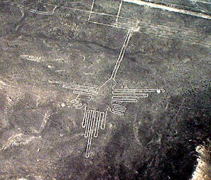 Geoglyph - The Nazca Lines in Peru. This photograph taken in December 2006 depicts the hummingbird