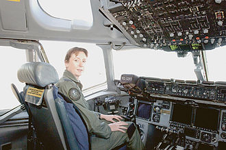Women in the military by country - Wing Commander Linda Corbould, the first woman to command a Royal Australian Air Force flying squadron, training in a USAF C-17 Globemaster III