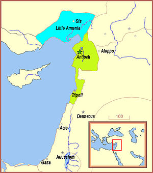 Bohemond VI of Antioch - Bohemond VI ruled over Antioch and Tripoli (green), and was an ally of Cilician Armenia (blue).