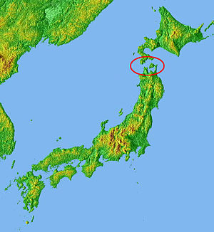 Seikan Tunnel - Location of the Tsugaru Strait in Japan