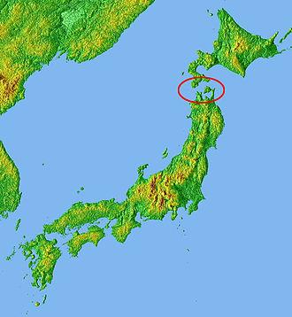 Seikan Tunnel - Location of the Tsugaru Strait in Japan