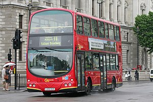 London Buses route 11 - London General Wright Eclipse Gemini bodied Volvo B7TL on Whitehall in June 2011