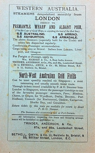 """North West Australia - A 1910 advertisement for shipping services from London to the """"North West Goldfields"""", which were in the Tanami Desert (Western Australia/Northern Territory)."""