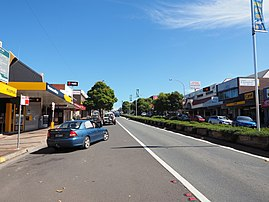 Looking south along the Princes Highway near its corner with Green Street in Ulladulla February 2015.jpg