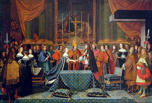 ルイ14世とマリー・テレーズ・ドートリッシュとの婚儀。デストラン作画のタペストリー[20]、17世紀。
