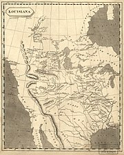 """A contemporary mapmaker's vision of """"Louisiana"""", edged on the west by the Rocky Mountains."""