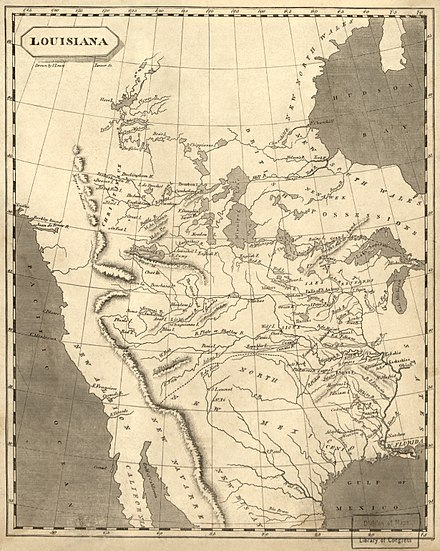 "1804 map of ""Louisiana"", bounded on the west by the Rocky Mountains Louisiana1804a.jpg"