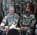 Lt. Gen. Benjamin R. Mixon, commander, U.S. Army Pacific and Lt. Gen. A.S. Sekhon, director general of Indian military operations, answer media questions at a press conference during Yudh Abhyas 2009.jpg