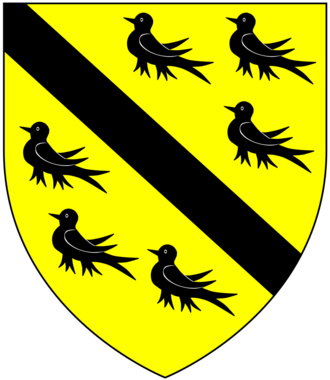 Sir Hugh Luttrell - Arms of Luttrell: Or, a bend between six martlets sable