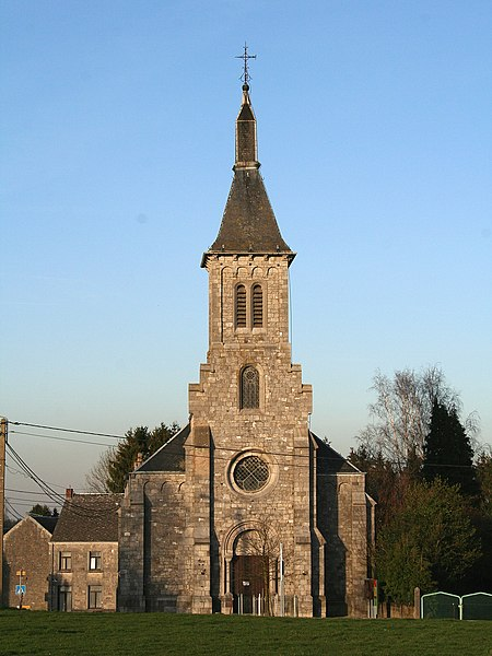 Méan   (Belgium), the St. Stephen church (1874-1876).