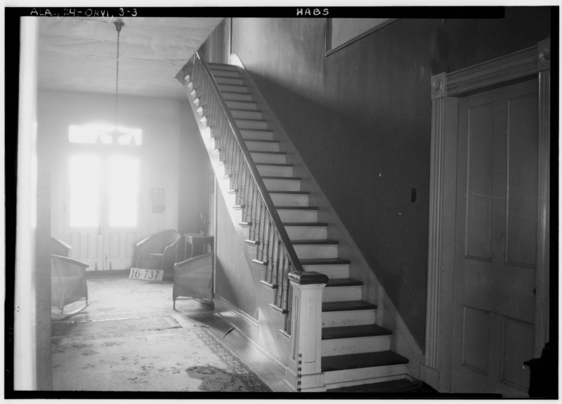 File:MAIN STAIRS - Ben Ellis Dunaway House, State Highway 22, Orrville, Dallas County, AL HABS ALA,24-ORVI,3-3.tif