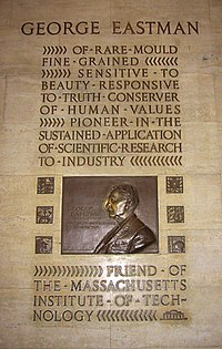 A plaque of George Eastman, founder of Eastman Kodak, in Building 6.  His nose is rubbed by students for good luck.