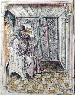 Johannes Liechtenauer - This image of a seated master precedes the gloss of Liechtenauer's teachings in the Codex 44A.8.