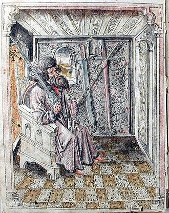 Johannes Liechtenauer - This image of a seated master precedes the gloss of Liechtenauer's teachings in the Codex 44A.8.