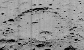 Mach (crater) - Oblique Lunar Orbiter 5 view of Mach crater.