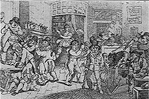 """Augustan prose - Rowlandson's caricature """"Mad Dog in a Coffee-House,"""" showing """"stock jobbers"""" in a panic as they are terrorized by a rabid animal."""