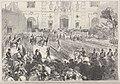 Madrid - La première revue passée à Madrid par le roi Amédée, en l'honneur du prince Humbert (D'après le croquis de M. Urrabieta).jpg