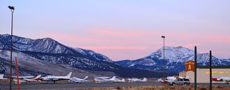 Mammoth Yosemite Airport - View from airport, December 2013, with Mammoth Mountain in the background
