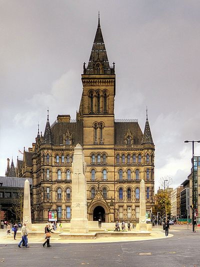 The east facade from Mosley Street with Lutyen's relocated Cenotaph in the foreground. Manchester Cenotaph with Town Hall.jpg