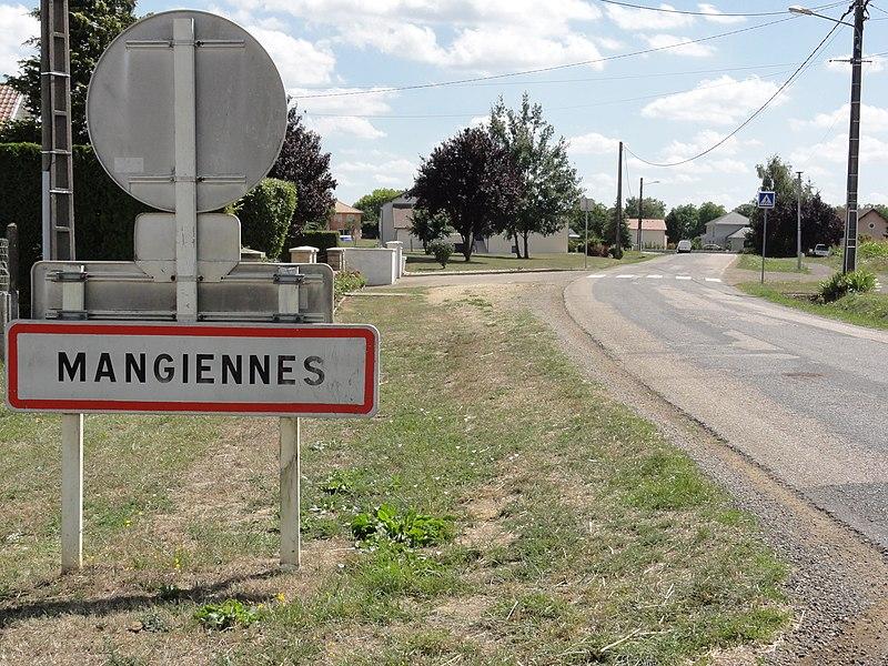 Mangiennes (Meuse) city limit sign
