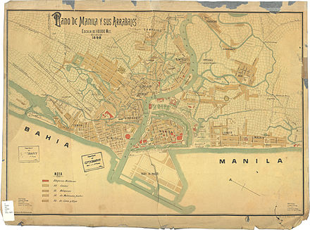 Map of Manila, 1898. - Spanish influence on Filipino culture
