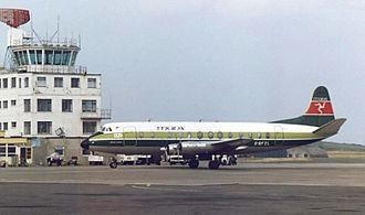 Isle of Man Airport - Manx Airlines Vickers Viscount taxiing past the airport control tower in 1988