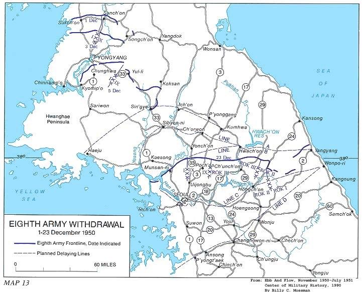 Map Eighth Army Retreat