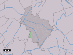 The town centre (dark green) and the statistical district (light green) of Spier in the municipality of Midden-Drenthe.