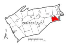 Map of Cumberland County, Pennsylvania highlighting Upper Allen Township