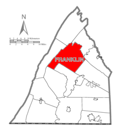 Map of Franklin County, Pennsylvania highlighting Letterkenny Township