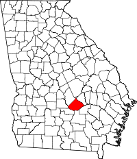 Locatie van Telfair County in Georgia
