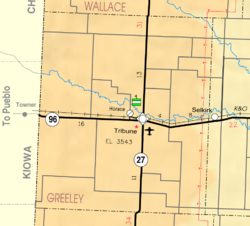KDOT map of Greeley County (legend)