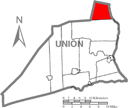 Map of Union County, Pennsylvania highlighting Gregg Township