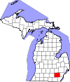 State map highlighting Washtenaw County