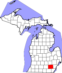 Map of Michigan highlighting Washtenaw County