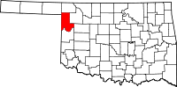Map of Oklahoma highlighting Ellis County