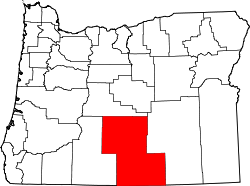 map of Oregon highlighting Lake County