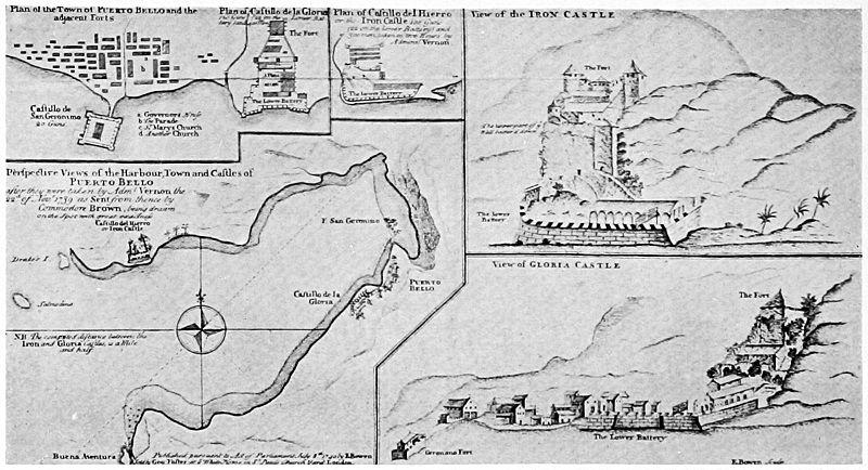 8 reales 1668 de Carlos II. Potosí. Tipo macuquina. Dedicada a Harpomarx 800px-Map_of_Portobelo_with_forts_c_1740