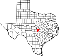 Map of Teksas highlighting Burnet County
