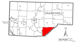 Location of Wayne Township in Crawford County