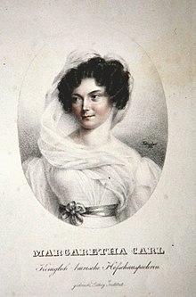Margarethe Carl, Lithographie von Josef Eduard Teltscher, 1826 (Quelle: Wikimedia)