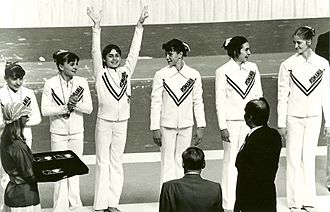 Romania at the 1976 Summer Olympics - Medal ceremony for the Romanian National Team at the Montreal 1976 Summer Olympics.