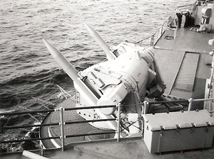 Mark 11 Mod 2 missile launcher aboard USS Chicago (CG-11), circa in 1970.png