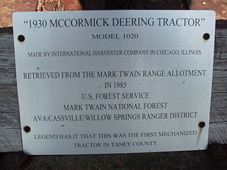 Ava, Missouri - Plaque attached to the old tractor at the Ava ranger station