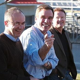 Mark Warner - Warner with Virginia House of Delegates minority leader Ward Armstrong (left) and then-U.S. Senator Jim Webb (right), November 4, 2007.