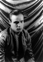 Black an white photo o Marlon Brando in the film, A Streetcar Named Desire in 1948.