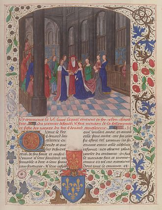 Edward IV of England - Edward IV's marriage to Elizabeth Woodville, from the illuminated manuscript Anciennes Chroniques d'Angleterre, by Jean de Wavrin